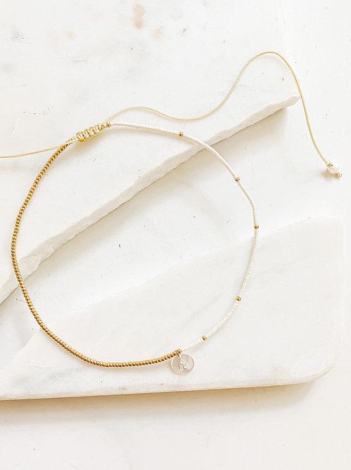 Agua Santa | Gold + White Bead Initial Choker