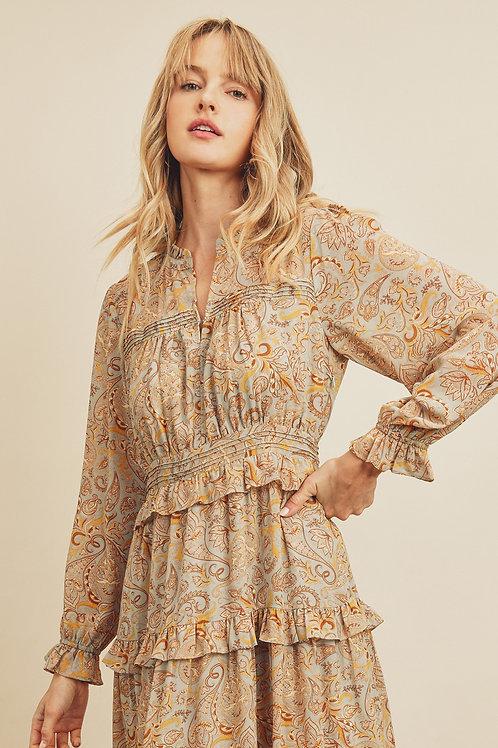 The Alyssa Paisley Tiered Maxi Dress