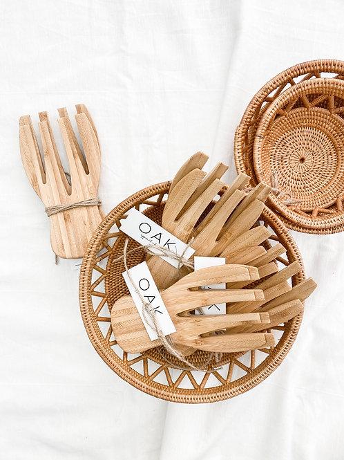 Bamboo Serving Tongs