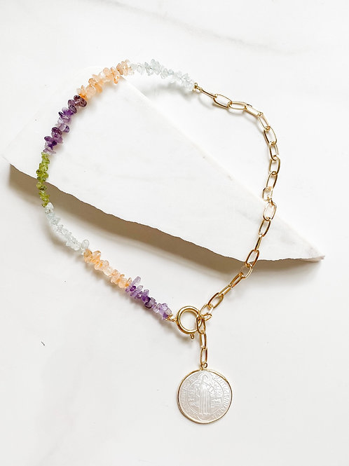 AGUA SANTA | Crystal + Saint Lariat Necklace