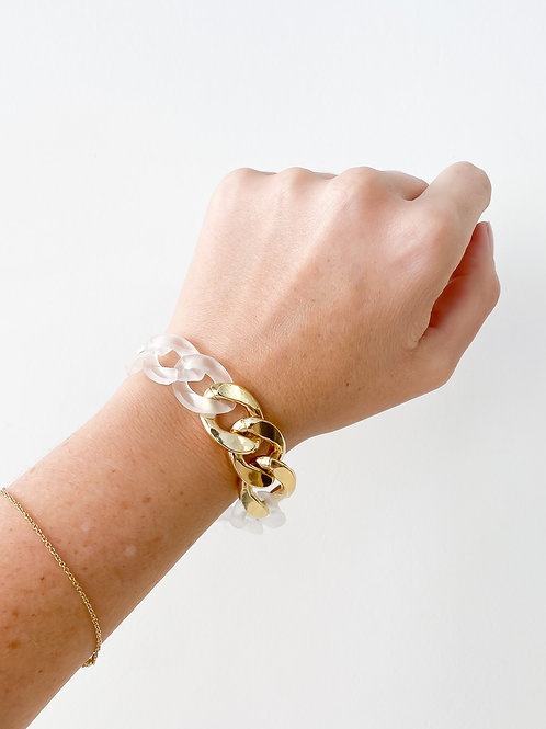 Agua Santa | Clear Frosted Acrylic Link Bracelet