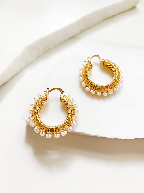 Agua Santa | Pearl Wrapped Hoops