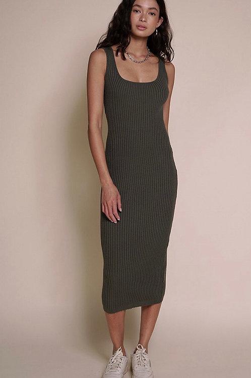 Sophie Olive Ribbed Dress