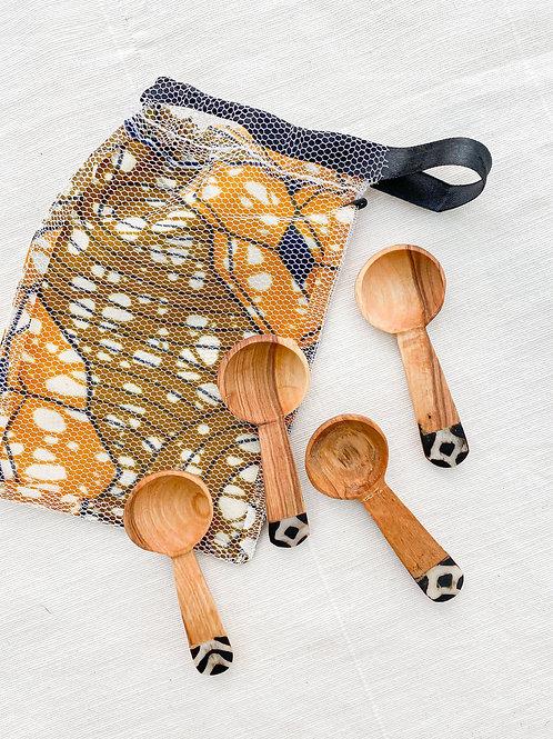 Olive Wood Spice Spoon Set