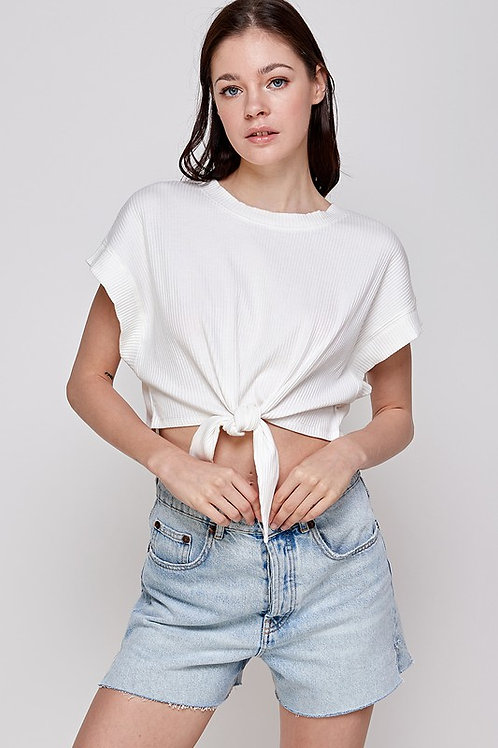 The Ariel Front Tie Top | White