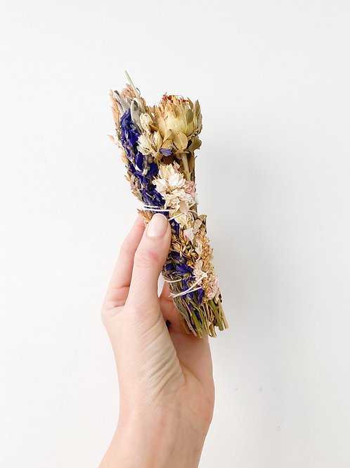 Liv Rocks | Large White Sage + Wild Flower Smudge Stick