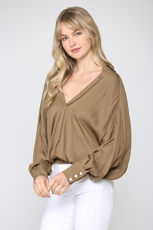 The Meagan Olive Satin Blouse