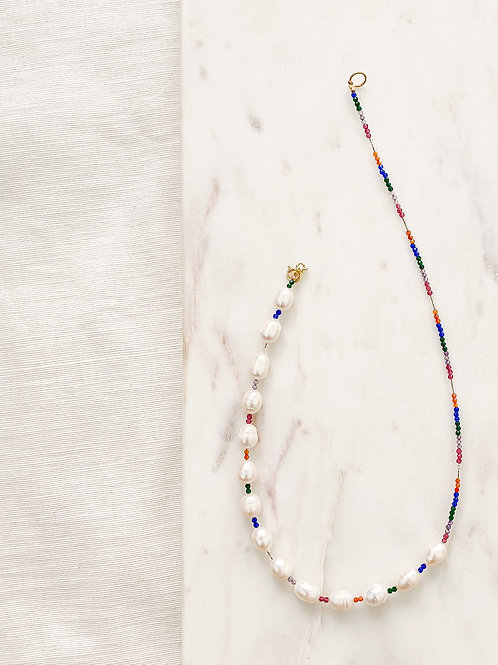 Agua Santa | Pearl + Multi Colored Beads Necklace