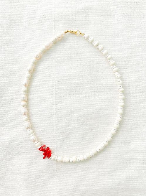Agua Santa | Pearl + Coral Necklace