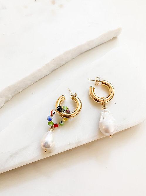 AGUA SANTA  | Evil Eye Charm + Pearl Earrings