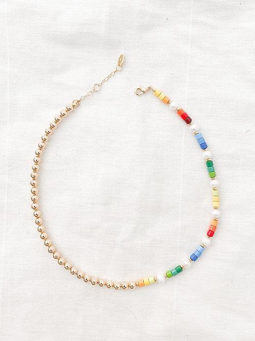 AGUA SANTA   Rainbow Beaded Necklace
