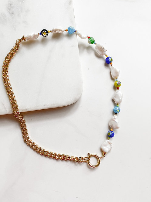AGUA SANTA | Beaded Pearls and Chain Necklace