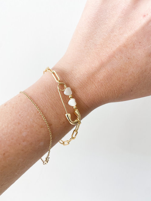 Agua Santa | Clothespin Double Heart Bracelet