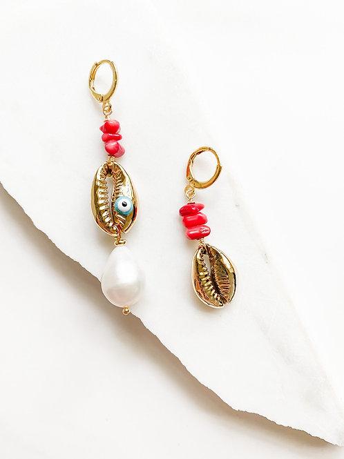 AGUA SANTA |  Coral + Cowrie Shell Drop Earrings