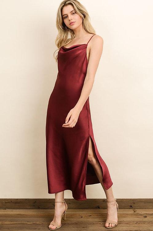 The Lacey Burgundy Slip Dress