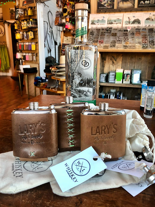 Lary's - Whiskey Leather Works Stainless Steel Flask