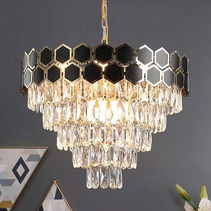 Gold & Black Crystal Chandelier
