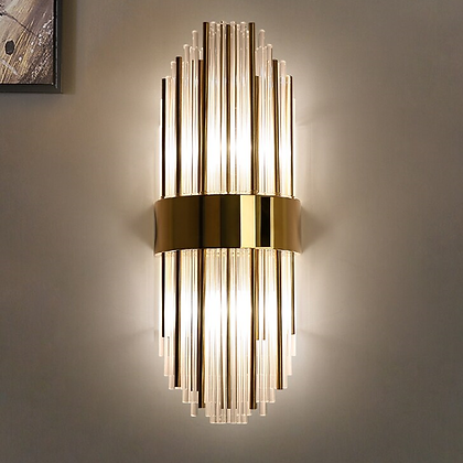 Wall Light - Crystal pencil with brass metal rods