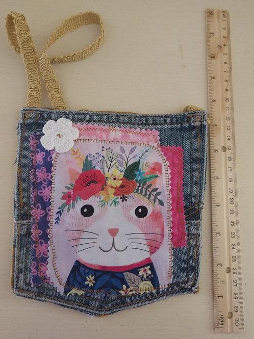 Pink Kitty Jean Pocket Purse