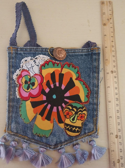 Sugar Skull Jean Pocket Purse