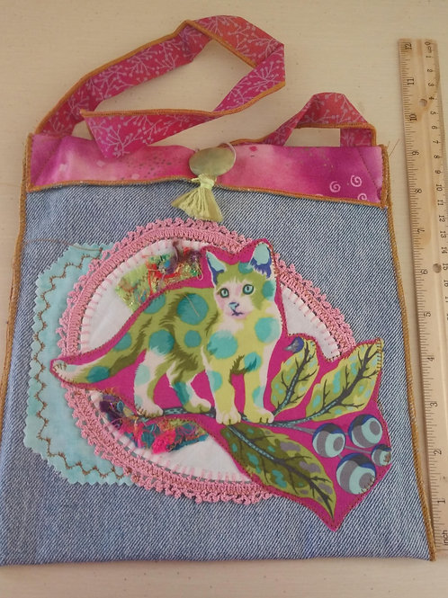 Green Kitty Collage Purse