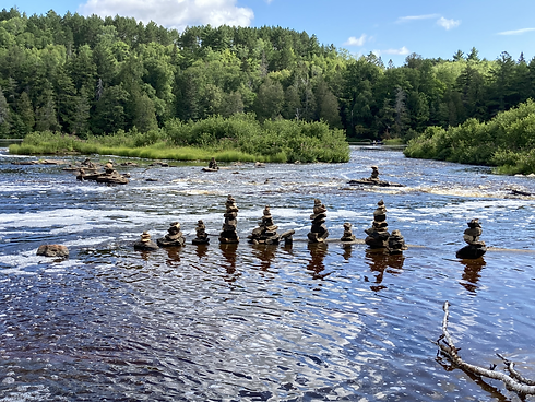 Stones Stacked at Tahquamenon Falls.HEIC