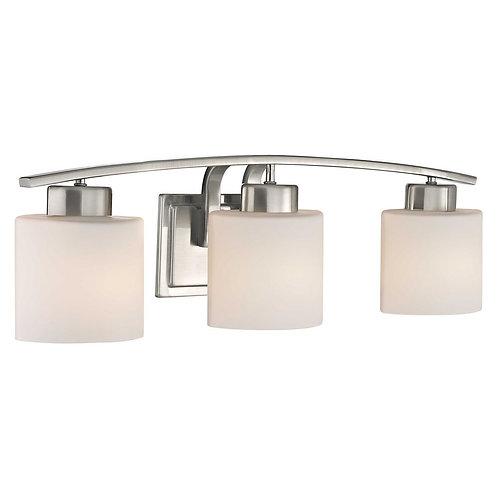 Oval White Glass 3 Bar Bath Light