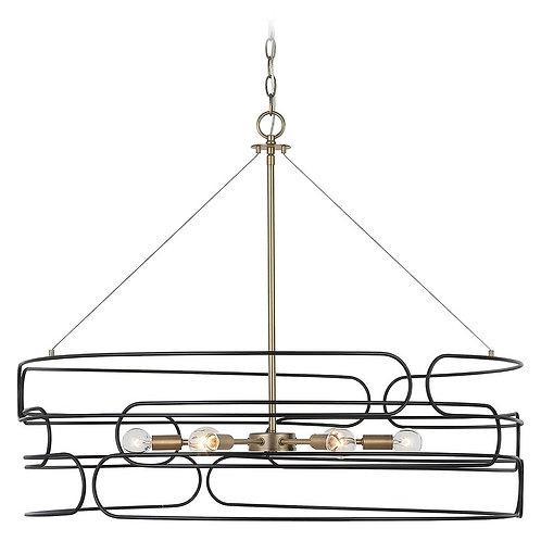 Capital Lighting Arlo Aged Brass and Black Pendant Light