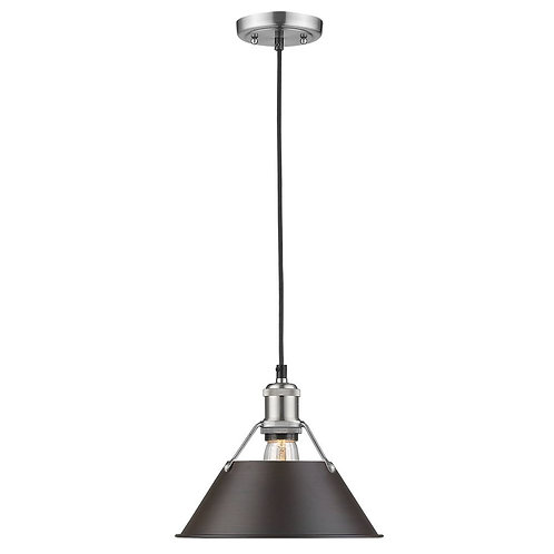 Golden Lighting Orwel Pewter Pendant Light with Conical Shade