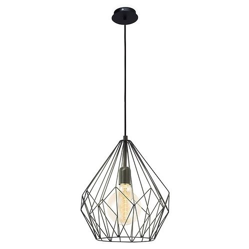 Eglo Carlton Black Pendant Light with Abstract Shade