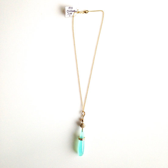 Jade and Gold Drop Necklace