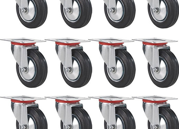 """12 Pack 3"""" Swivel Caster Wheels Rubber Base with Top Plate & Bearing Heavy Duty"""