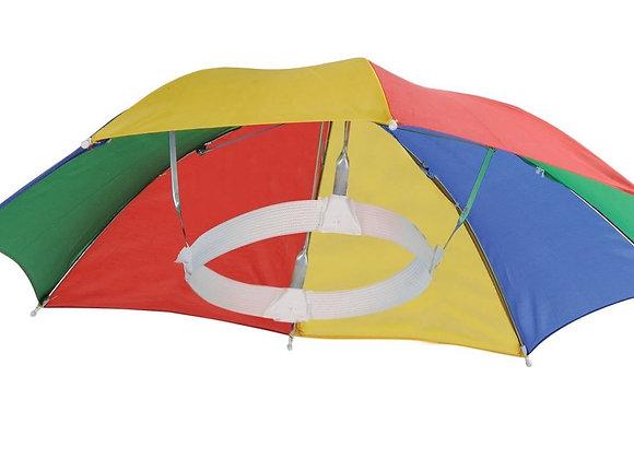 4 Pack Umbrella Hat Cap Multicolor Hands Free with Head Strap for Sun & Rain