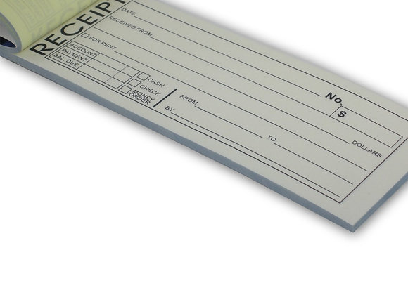 "Rent Receipt Book With Carbon Copy Duplicate 2 parts 50 Sets Size: 8"" X 2.75"""