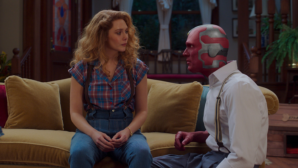 Elizabeth Olsen is Wanda Maximoff and Paul Bettany is Vision in Marvel Studios' WANDAVISION, exclusively on Disney+.