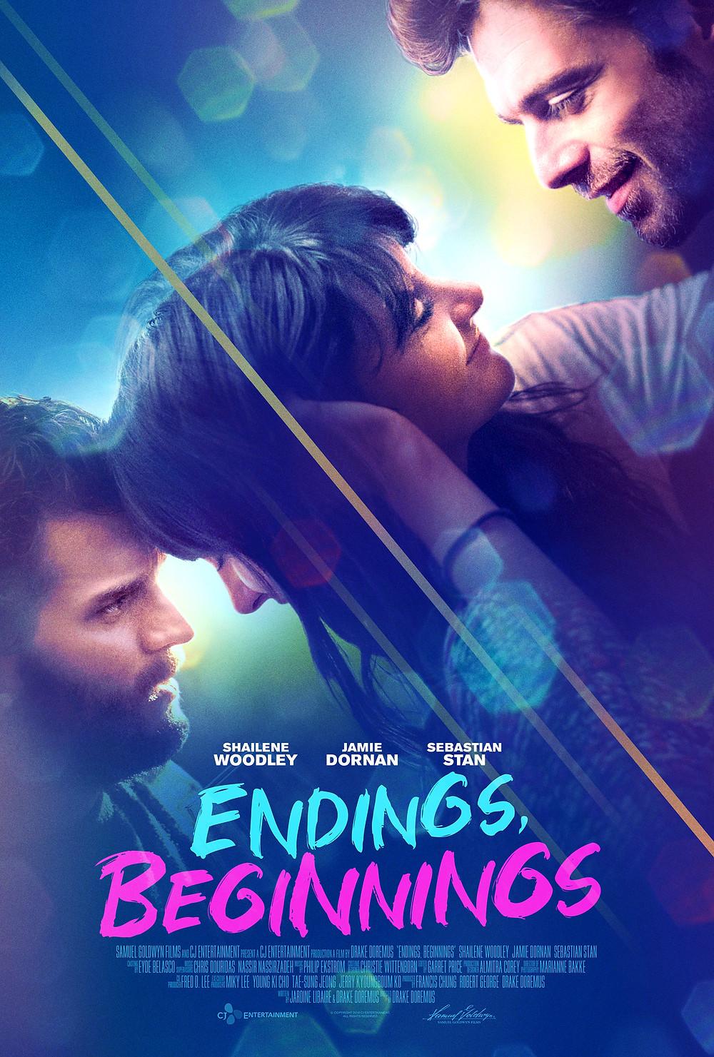 Endings, Beginnings movie poster starring Shailene Woodley, Jamie Dornan and Sebastian Stan. Photo from Samuel Goldwyn Films