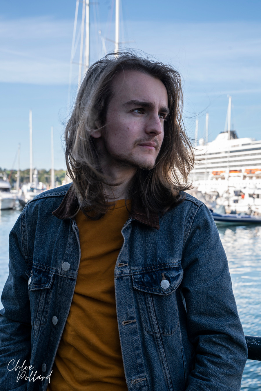 Rhys Hurd in Falmouth Marina, Photo by Chloe Pollard Photography