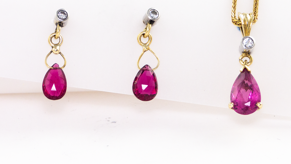 Tourmaline and diamond earrings and pendant in 18ct yellow gold