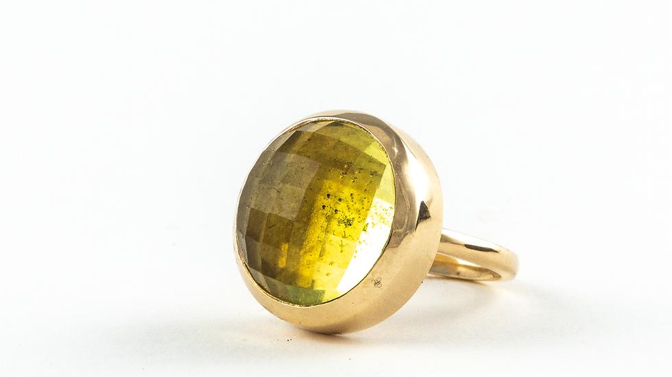 Lemon quartz checkerboard cabochon in 9ct Y gold or silver