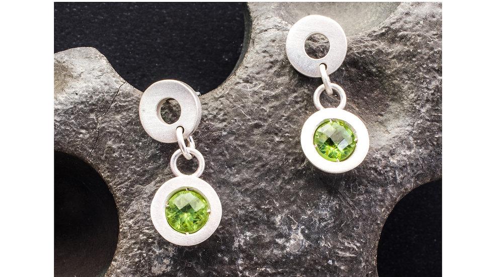 Silver symbols and shapes peridot earrings