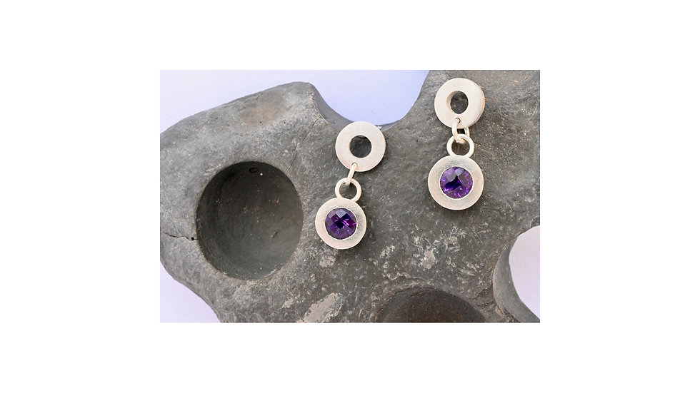 Circles and drop shapes and symbols amethyst earrings