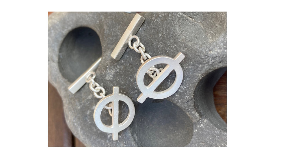 Sterling silver shapes and symbols cuff-links