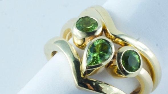 Peridot stacker rings
