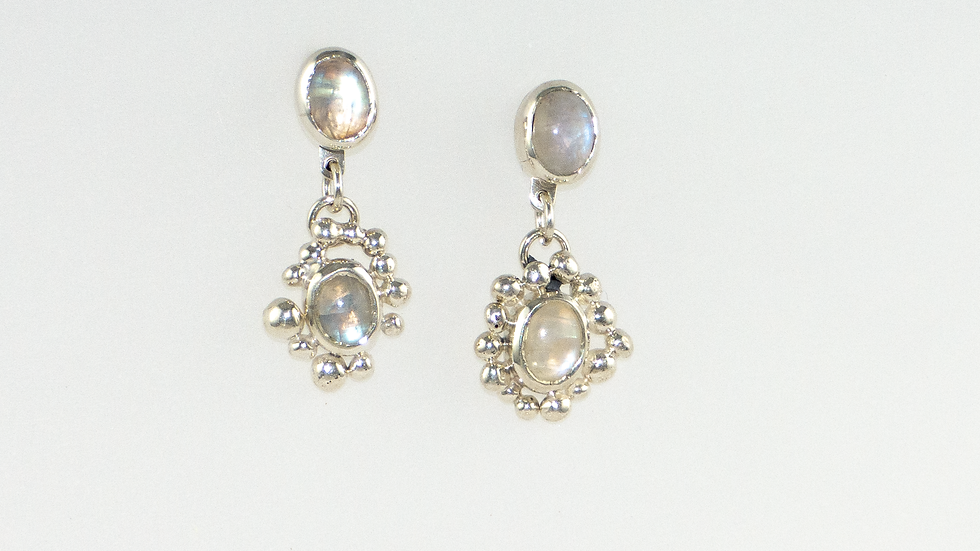 Moonstone detachable drop earrings and studs