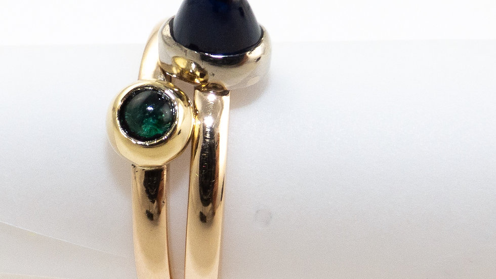 Emerald and sapphire stacker rings