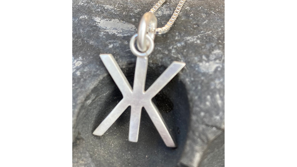 Sterling silver shapes and symbol pendant