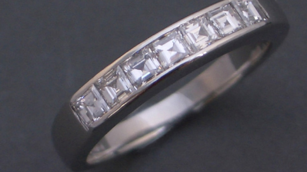 Half eternity diamond ring in 18ct white gold