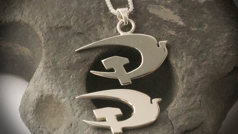 Hammer and dove pendant