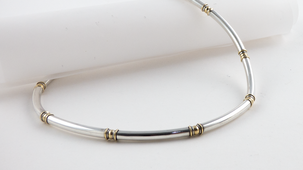 Silver and 18ct yellow gold stretch tube necklace
