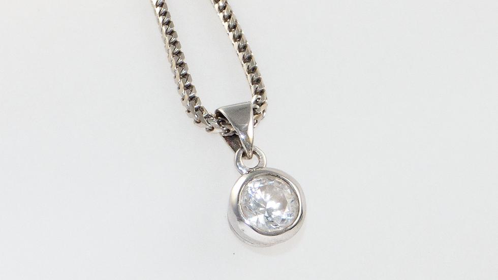 Diamond 0.74ct pendant set in 18ct white gold
